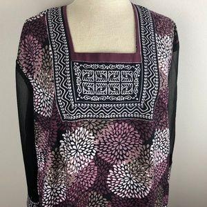 Maple Clothing Tunic Blouse Size 46 2X Purple